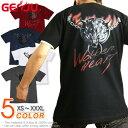 GENJU Tシャツ メンズ 狼 ウルフ ロック アクセサリー ストリート系 カッコいい グラフィティ 半袖 長袖 ブランド tシャツ ティーシャツ ロンT WolfenHeart ブラック 黒 レッド カーキ 赤 大きめサイズあり XXL XXXL 2L 3L 4L 90-140cm XS-XXXL