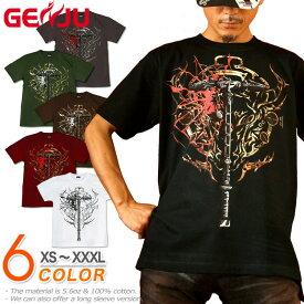 GENJU Tシャツ メンズ トライバル ファンタジー ゲーム 武器 ハンマー トール 紋章 アメカジ ブランド 半袖 長袖 tシャツ ティーシャツ ロンT Sword Field -Thor's Hammer- ブラック 黒 チャコール ホワイト 白 赤 大きめサイズあり XXL XXXL 2L 3L 4L 90-140cm XS-XXXL