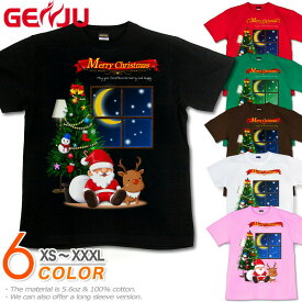 GENJU クリスマス Tシャツ メンズ 冬 クリスマスTシャツ リース イベント 雪だるま サンタクロース トナカイ スポーツジム プレゼント 衣装 可愛い 半袖 長袖 ブランド tシャツ XtmasSnow ブラック 黒 グリーン 白 大きめサイズあり XXL XXXL 2L 3L 4L 90-140cm XS-XXXL