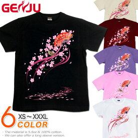 GENJU 桜Tシャツ メンズ 20夏秋冬 綿100%/和柄/半袖/長袖 ブラック/ピンク/ホワイト XS-XXXL