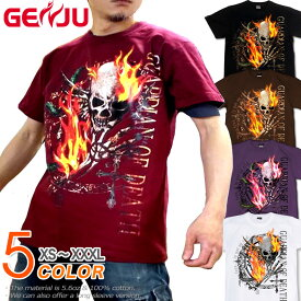 GENJU スカルTシャツ メンズ 21春夏 綿100%、半袖/長袖 ブラック/ブラウン/パープル/ホワイト XS-XXXL