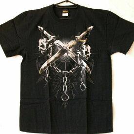 【激安・特価・処分品】【メンズ半袖Tシャツ】【スカル 骸骨 武器 ナイフ 鎖】【Lサイズ】【サンプル/お試し/B級品】