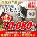 【お得なクーポン配布中!】【玄米】【送料無料】平成28年産 宮城産 コシヒカリ 30kg 選べる精米方法