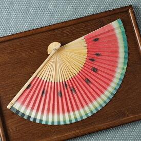 スイカ柄の扇子 紙扇子 西川庄六商店 ユニーク 母の日 父の日 プレゼント【京都ぎんやんま】