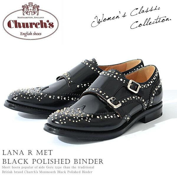 チャーチChurch's レディース ダブルモンクストラップ スタッズ Lana R Met Black Polished Binder カーフレザー ブラック サイズ36/36.5/37/37.5/38/38.5 モードなデザイン 上質レザー使用|レザーシューズ即日発送