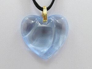 バカラ ネックレス ● ハート 波 ライトブルー ペンダント チョーカー 4cm 水色 ビジュー ビジュウ ウェーブ 布袋付き