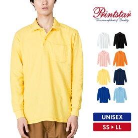 ポロシャツ メンズ 長袖 無地 Printstar プリントスター 5.8オンス T/C長袖ポロシャツ ポケット付き 00169-VLP