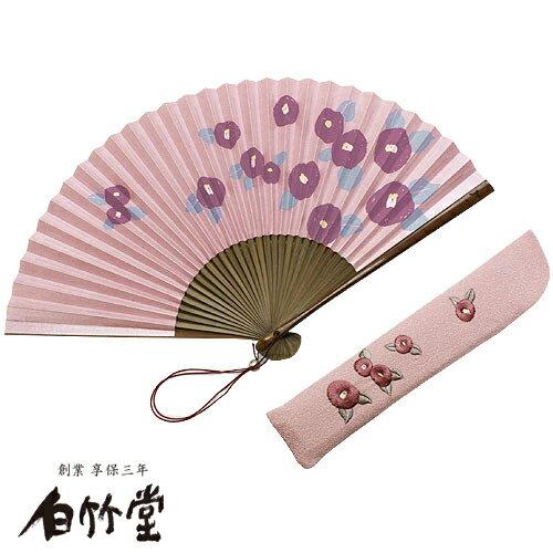 白竹堂 小紋だより扇子セット-椿×七宝- 女性用