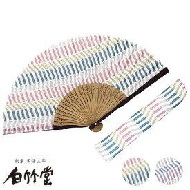 白竹堂 浴衣パレード扇子セット「じぐざぐ」女性用
