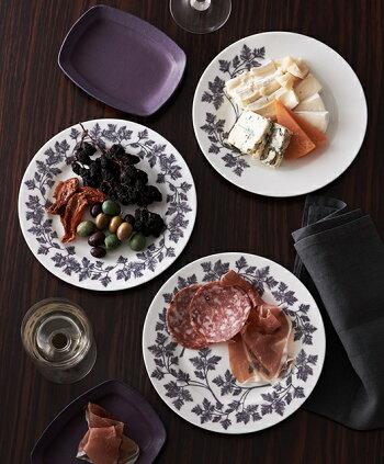 HANOVE(ハノーヴェ)クラシックシリーズパープルリム柄20cmプレート【皿食器ボーンチャイナテーブルウェアハノーベ】