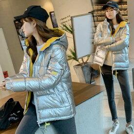 5中綿コート レディース 40代 秋冬 アウター 中綿コート 中綿ジャケット コート 厚手 暖かい 大きいサイズ スリム フード付き 配色
