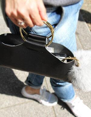本革ミニバッグ【Enhautアンオー】丸金具の持ち手バッグ/小物・ブランド雑貨/レディースバッグ/ハンドバッグ