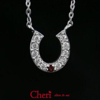 项链女士Cheri close to me项链马蹄铁红钻石CZ银子珠宝女士配饰吊坠项链SN36-086