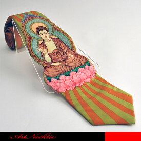 穏やかななお顔の大仏様をデザインしたありがたいネクタイです。☆立体裁断ネクタイ/面白いネクタイ/仏陀/大仏/
