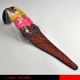 トリプル積のアイスクリームのチョコレートかけです。の甘いアイスのデザインのネクタイです。☆立体裁断ネクタイ/面白いネクタイ/アイス/コーンアイス/