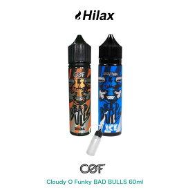【送料無料】 Cloudy O Funky BAD BULLS 60ml クラウディー オー ファンキー バッドブル 電子タバコ VAPE ベイプ リキッド 大容量 マレーシア製 タール ニコチン0 エナジードリンク メンソール 清涼剤 pod型 に便利なニードルボトル付 爆煙 Hilax