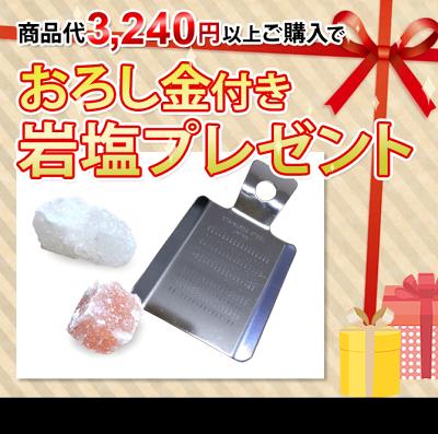 商品代3240円以上でおろし金付き岩塩プレゼント!