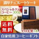 【送料無料】 自家焙煎コーヒー ギフト 濃厚 チョコレートケーキ 【 ヒロ大黒 】 と スペシャルティコーヒー 300gセット