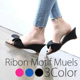 ミュールサンダル リボンモチーフ サンダル 履きやすい 歩きやすい 合わせやすい おしゃれ 楽