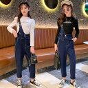 韓国子供服 セットアップ 女の子 秋服 ファッション 上下セット Tシャツ+ デニムオーバーオール 2点セット キッズ ガ…