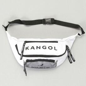KANGOL カンゴール メッシュポケット BIGロゴ ボディバッグ ウエストポーチ ショルダーバック ボディバック バッグ ホワイト ブラック ベージュ ウエストポーチ メンズ レディース ユニセックス かわいい カジュアル アウトドア ミニバック サコッシュ