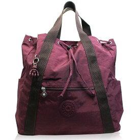 キプリング Kipling リュックサック バックパック レディース 軽量 2way トート 持ち手 ポケット 使いやすい 旅行 機能的 買い物 お出かけ カバン プラム 便利 大きめ ボストン 大容量