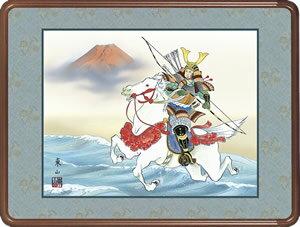 隅丸和額-若武者/榎本東山(欄間やなげしに端午の節句画隅丸和額をどうぞ)