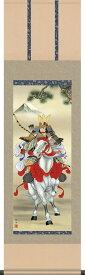 掛け軸-白馬武者/長江 桂舟(尺三)こどもの日の飾り、端午の節句画掛軸、男児の成長を祝う、送料無料、伝統の床の間飾り、初節句祝い、男の子の健やかな成長を願う