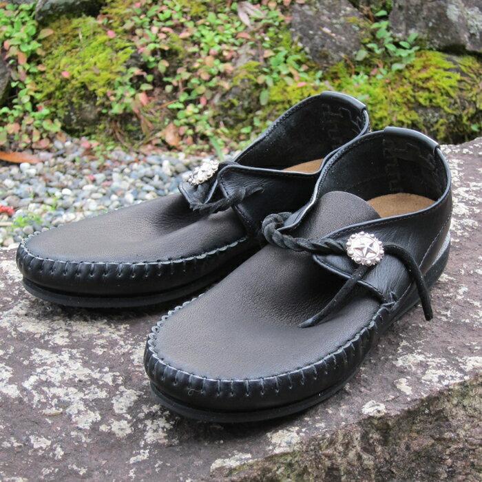 【送料無料】ファニー インディアン モカシン ラコタ ブラック メンズ レディース 共用 黒 靴 本革 レザー コンチョ付き FUNNY