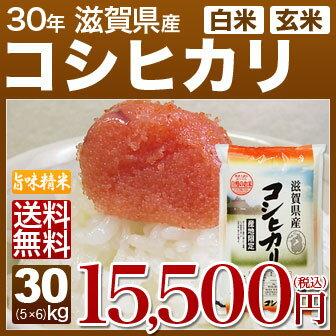 新米 30年産 滋賀県 近江米 コシヒカリ 30kg(5kg×6)送料無料 米(玄米)又は(白米/精米) 内祝いやお返し、ギフトに熨斗(のし)名入れ 可