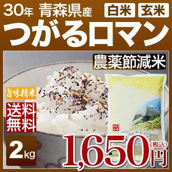青森県 つがるロマン 減農薬 米 2kg 送料無料 29年産の(玄米)又は(白米/精米) 食べ比べサイズのお米