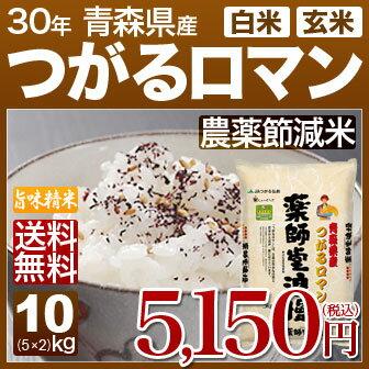 青森県 つがるロマン 減農薬 米 10kg(5kg×2)送料無料 29年産の(玄米)又は(白米) 内祝いやお返し、ギフトに熨斗(のし)名入れ 可