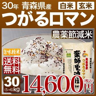 青森県 つがるロマン 減農薬 米 30kg(5kg×6)送料無料 29年産の(玄米)又は(白米) 内祝いやお返し、ギフトに熨斗(のし)名入れ 可