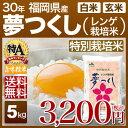 新米 29年 福岡県 夢つくし 特別栽培米 5kg 送料無料(29年産 米/あす楽)29年度産のお米 玄米/精米(白米)対応 西日本、…