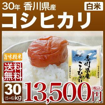 香川県 讃岐米 こしひかり 30kg(5kg×6)送料無料 29年産の(白米) 内祝いやお返し、ギフトに熨斗(のし)名入れ 可