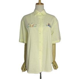 【中古】フランス Denis Materne 刺繍 ビンテージ シャツ レディースXL位 古着 半袖