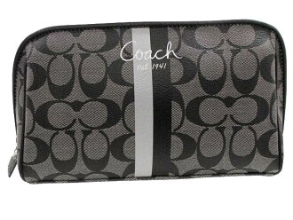 Coach Bag Pouch F43505 Black X White Heritage Stripe Medium Cosmetic Outlet Product Women S