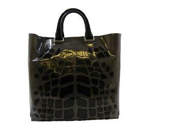 普拉达 (prada) 普拉达 (prada) ★ 袋 (手提袋) VA0782 XMR F0H49 00 灰色 × 黑色 leopardmochiefresatort 袋出售! 出售妇女休闲包通勤