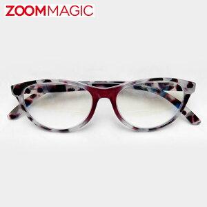 \全品ポイント2倍/zoom magic 遠近両用 老眼鏡 度数1.5 2.0 2.5 3.0 【 オーバル カモフラ 】 シニアグラス リーディンググラス おしゃれ 老眼鏡 男性 女性