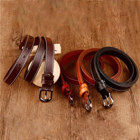 一枚牛革レディースベルト 本革全4色 ブラウン レッド ブラック コーヒー シンプル 合金バックル ビジネス カジュアル レザー 通勤