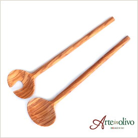 [Arteinolivo] オリーブウッドのサラダサーバー(ラウンドタイプ/30cm)