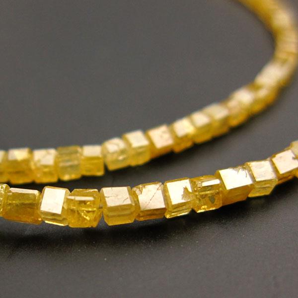イエローダイヤモンドAAAキューブ約1.5×1.5〜1.8×1.8mm◇1粒売り◇ ビーズ 石の蔵