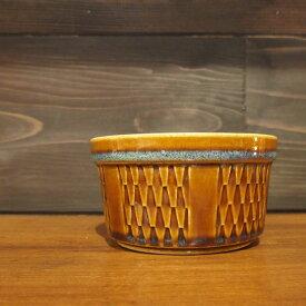 【北欧ヴィンテージ】 【デンマーク】 【中古】北欧 スカンジナビアン スーホルム (SOHOLM) 鱗模様 シュガーカップ 北欧雑貨 ブラウン 雑貨 北欧ビンテージ