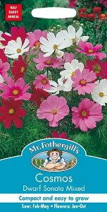 【輸入種子】Mr.Fothergill's SeedsCosmos Dwarf Sonata Mixedコスモス ドワーフ・ソナタミックスミスター・フォザーギルズシード