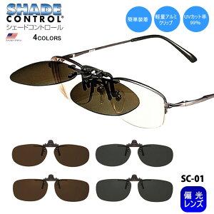 クリップオン サングラス 偏光 眼鏡 簡単装着 レンズ 【シェードコントロール SC-01】 小型レンズのフレーム向け ゴルフ アウトドア スポーツ クーポン対象