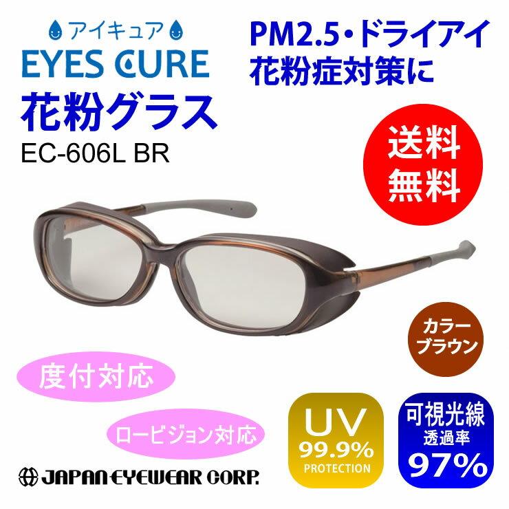 花粉 メガネ グラス ロービジョン 度付 対応 アイキュア EC-606L BR ブラウン ポリカーボネート製レンズ ゴーグル クーポン対象