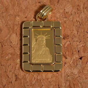 リバティ 自由の女神 24金 純金 ペンダント 2g リバーシブル(お磨きクロス付ギフトセット) 彼女 [ 誕生日 プレゼント ギフト ジュエリー アクセサリー ] 送料無料