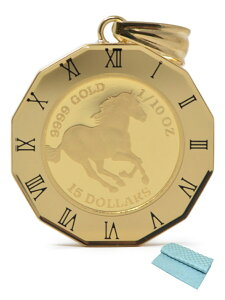 コイン ホース コイン ペンダント トップ 金貨 K24 1/10オンス 24金 枠 18金 (ジュエリーコトブキ お磨きクロス付 ギフトセット) 送料無料