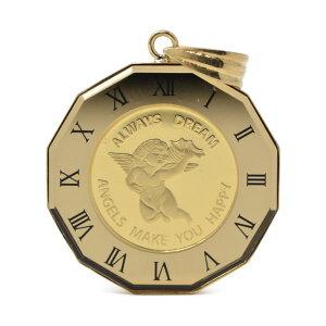 コイン エンジェル 天使 コイン ペンダント トップ 金貨 K24 1/25オンス 24金 枠 18金 (ジュエリーコトブキ お磨きクロス付 ギフトセット) 送料無料