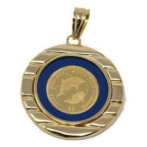 コイン イルカ ドルフィン エリザベス II ペンダント トップ 金貨 $5 FIVE DOLLARS 999.9 GOLD 1/20 OZ 24金 枠 18金 ガラス付